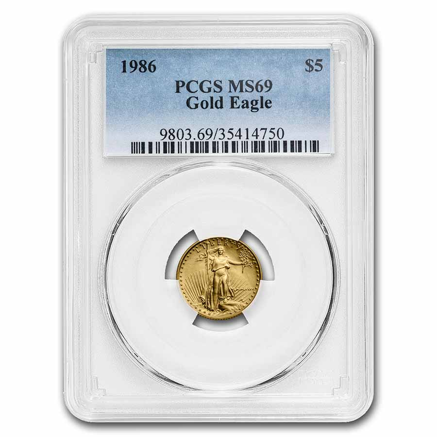 1986 1/10 oz Gold American Eagle MS-69 PCGS