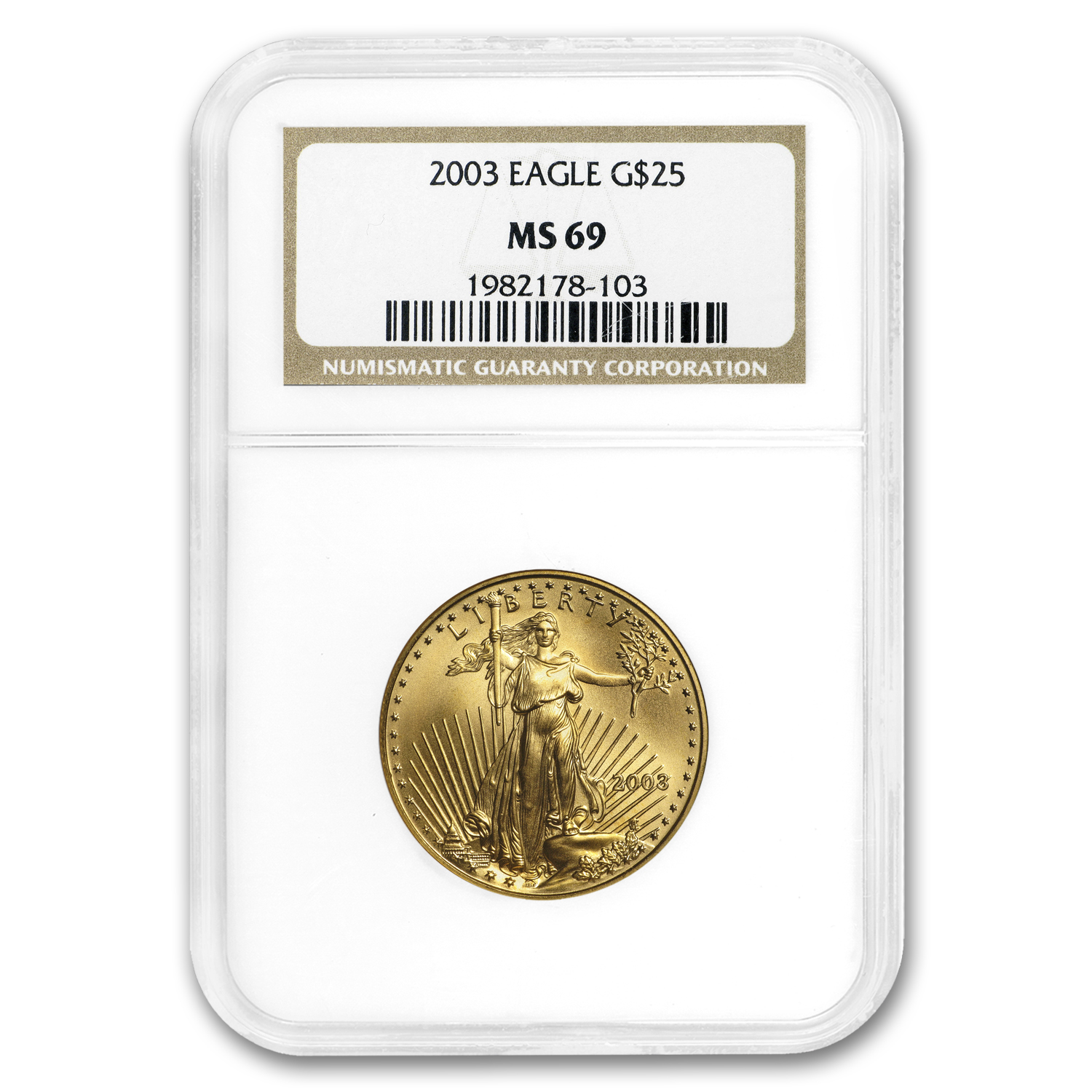 2003 1/2 oz Gold American Eagle MS-69 NGC