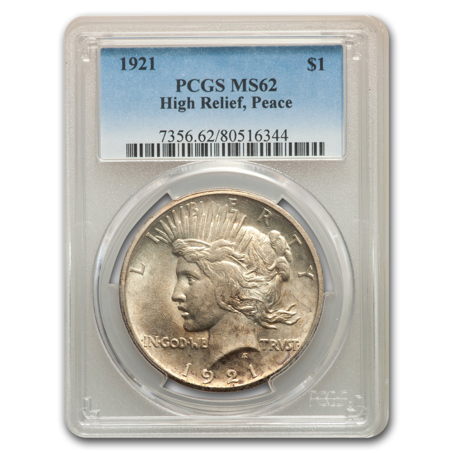 1921 Peace Dollar MS-62 PCGS