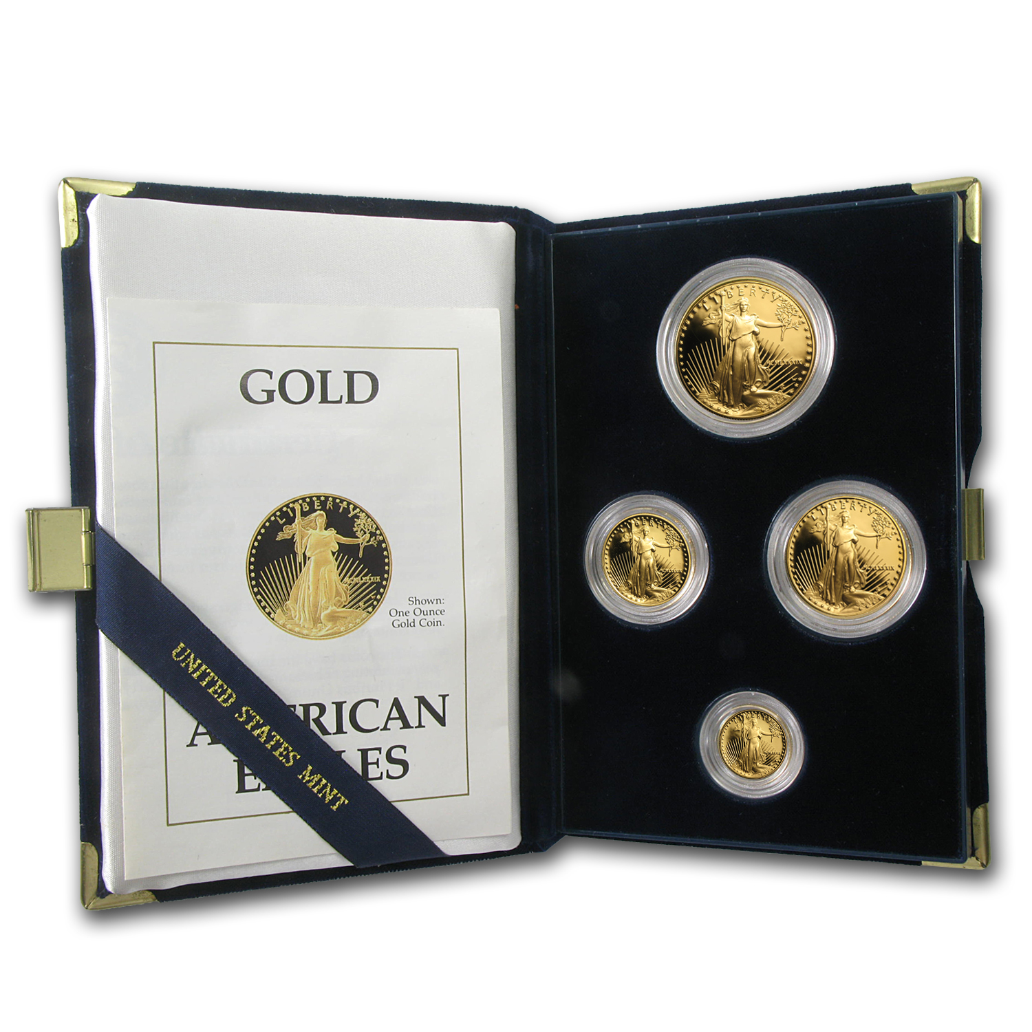 1989 4-Coin Proof Gold American Eagle Set (w/Box & COA)