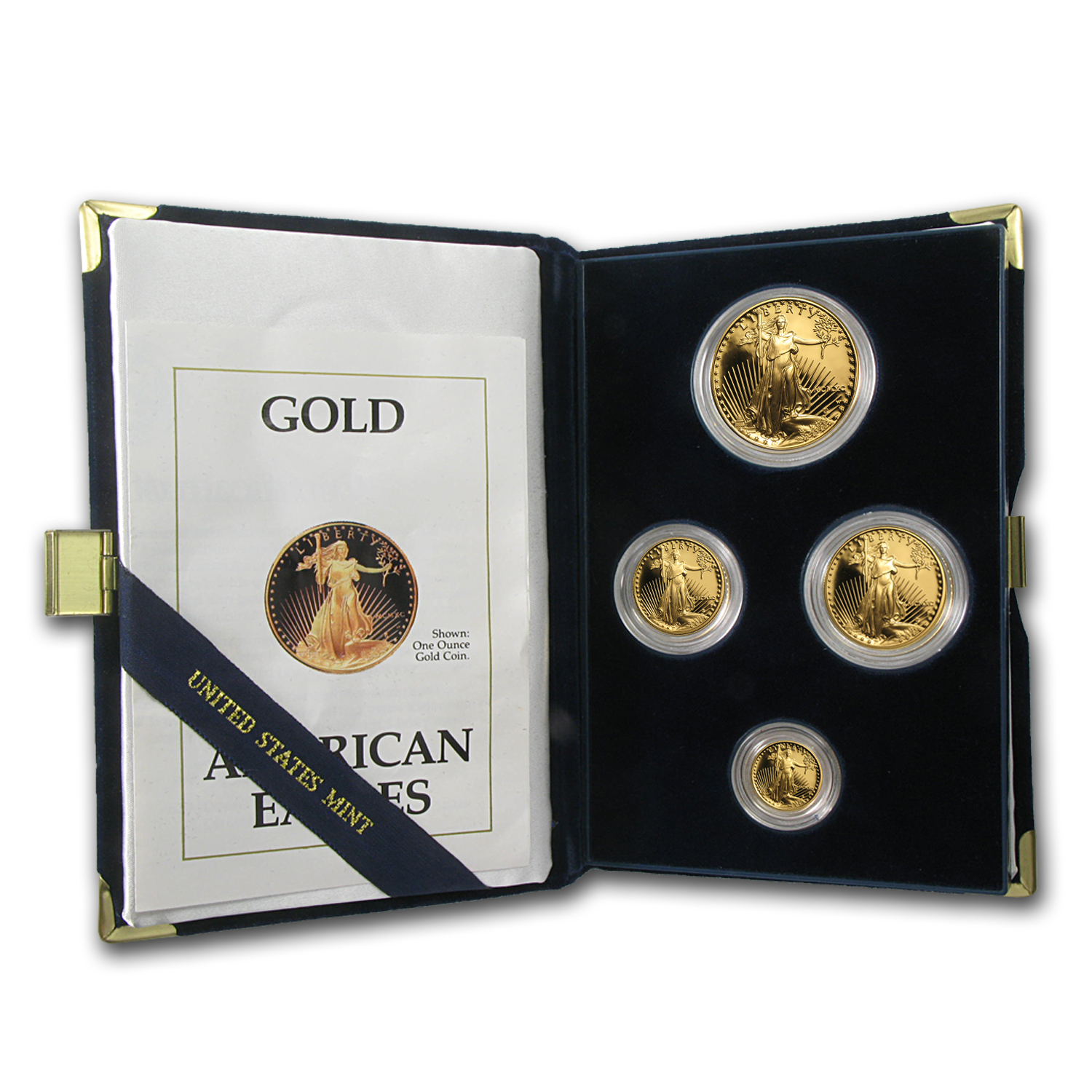 1990-P 4-Coin Proof Gold American Eagle Set (w/Box & COA)