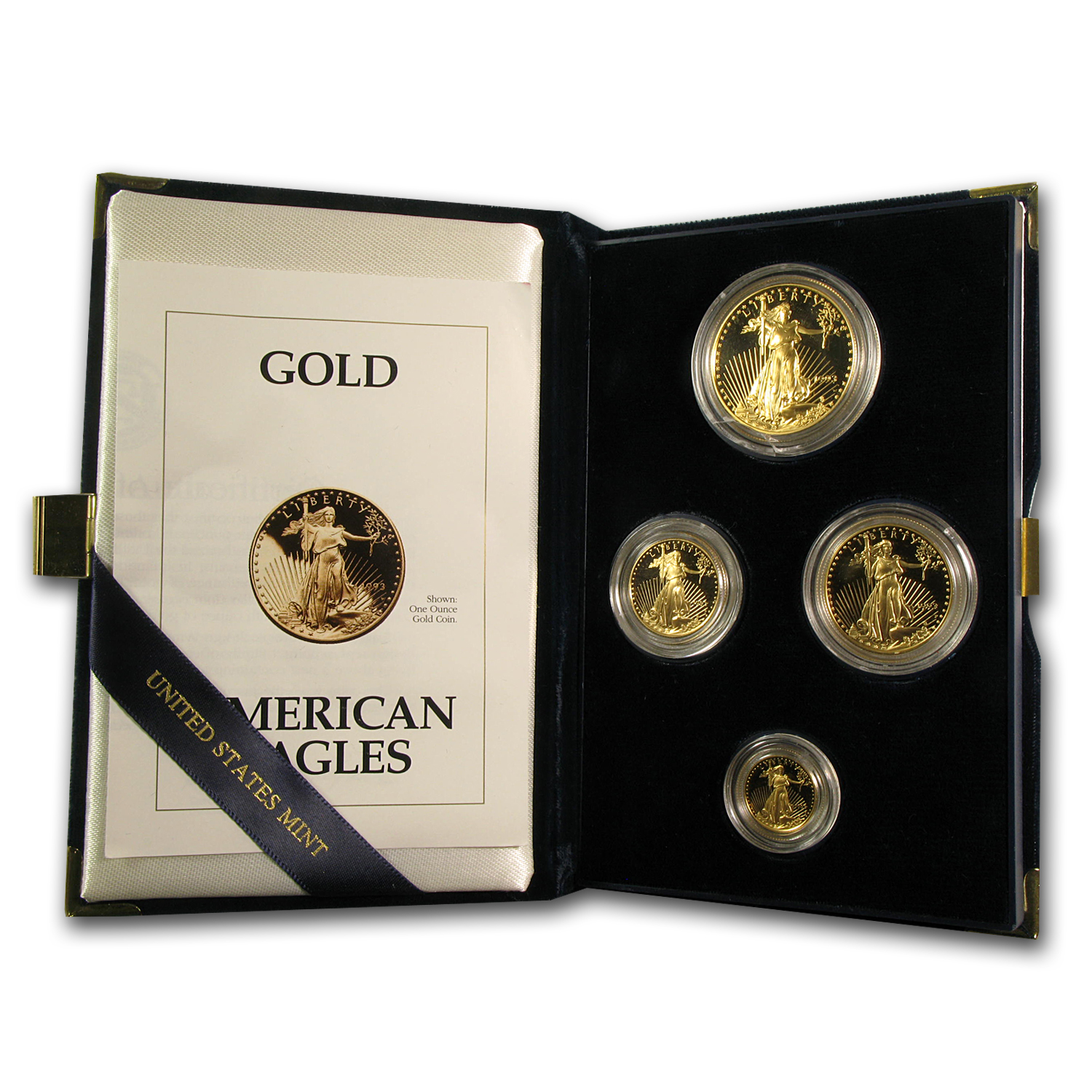 1993-P 4-Coin Proof Gold American Eagle Set (w/Box & COA)