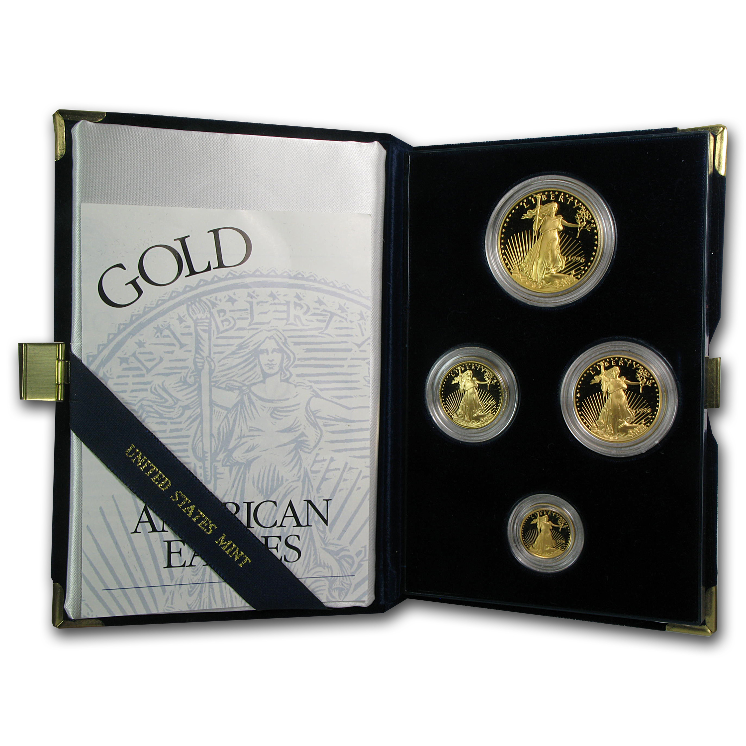 1996-W 4-Coin Proof Gold American Eagle Set (w/Box & COA)