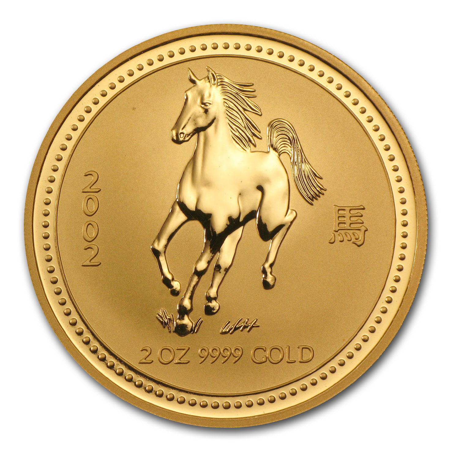 2002 2 oz Gold Lunar Year of the Horse BU (Series I)