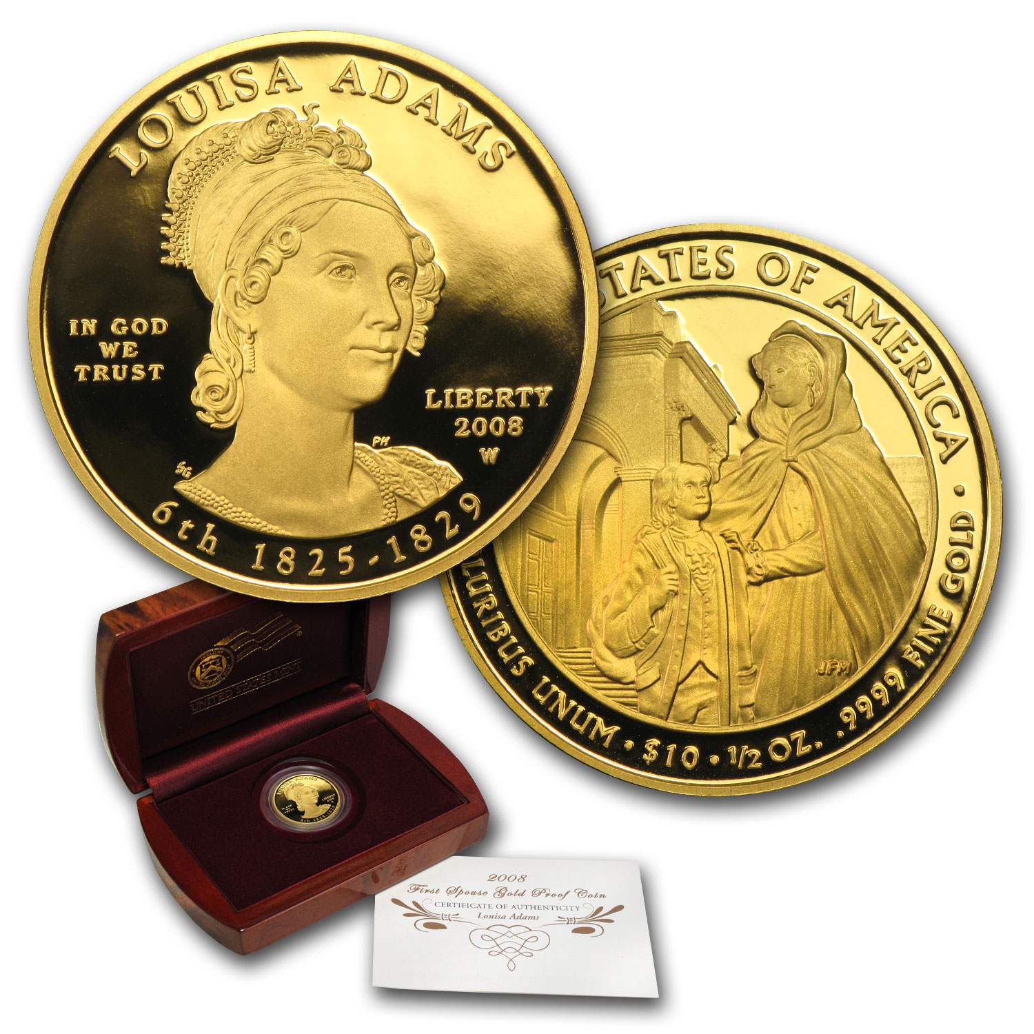 2008-W 1/2 oz Proof Gold Louisa Adams (w/Box & COA)