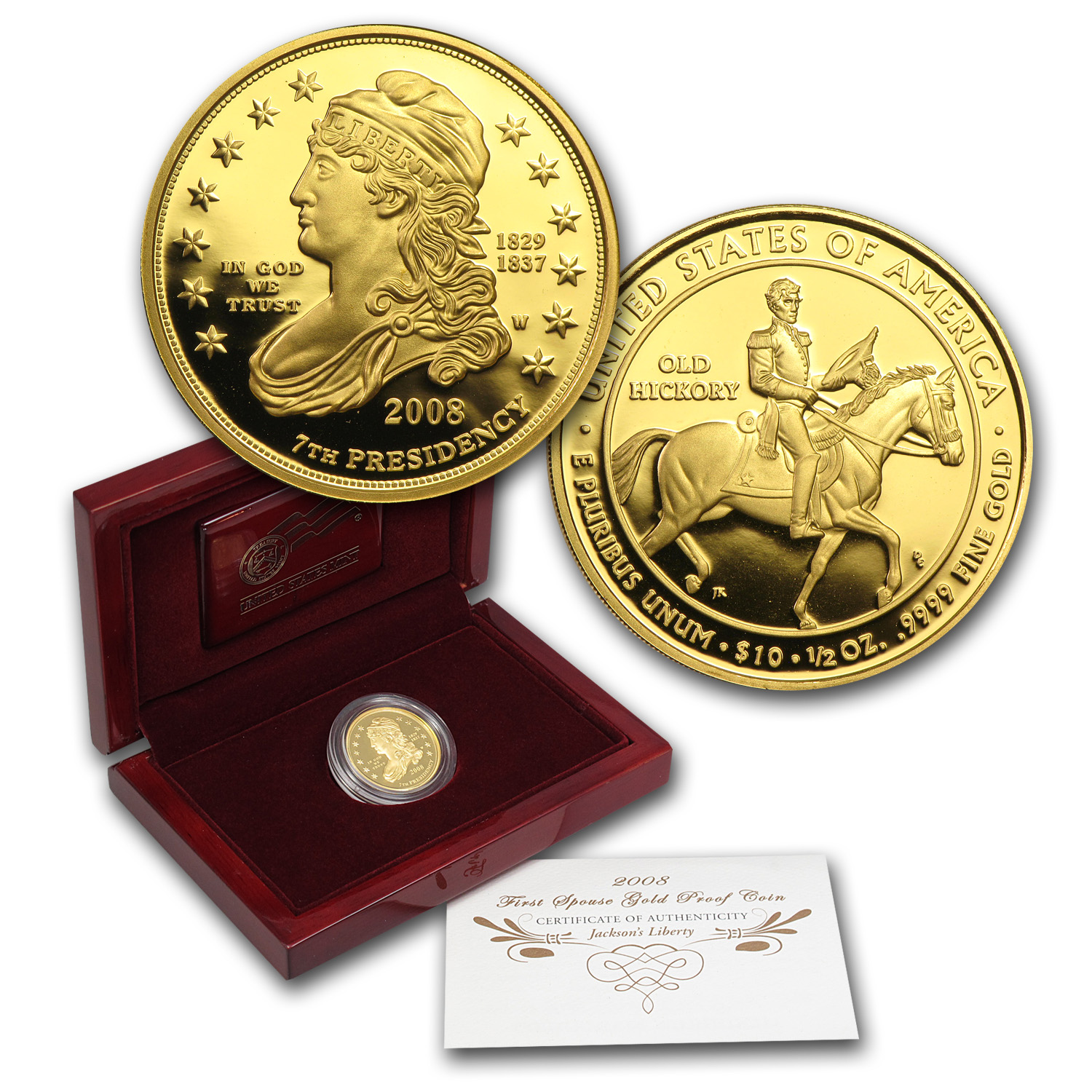 2008-W 1/2 oz Proof Gold Jackson's Liberty (w/Box & COA)