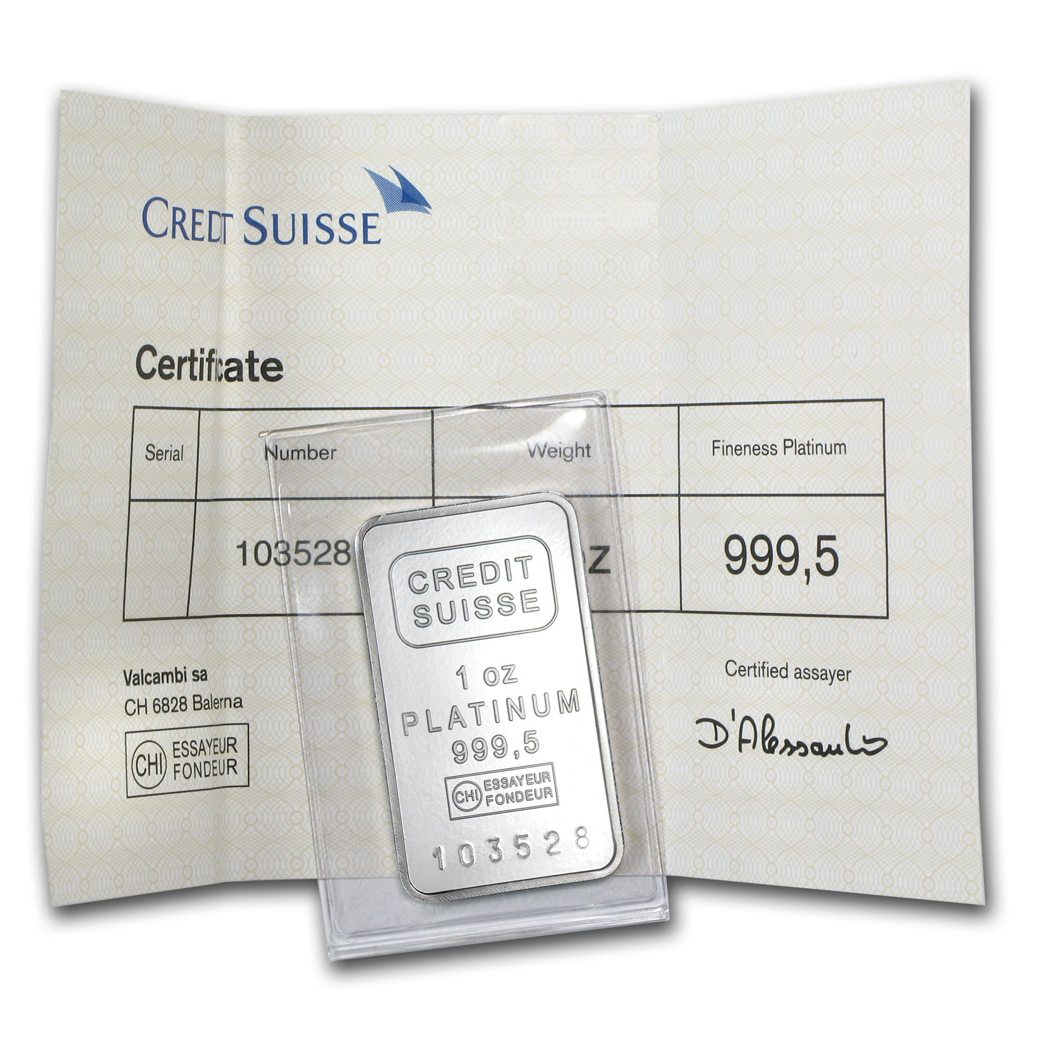 1 oz Credit Suisse Platinum Bar (.9995 Fine, w/Assay)