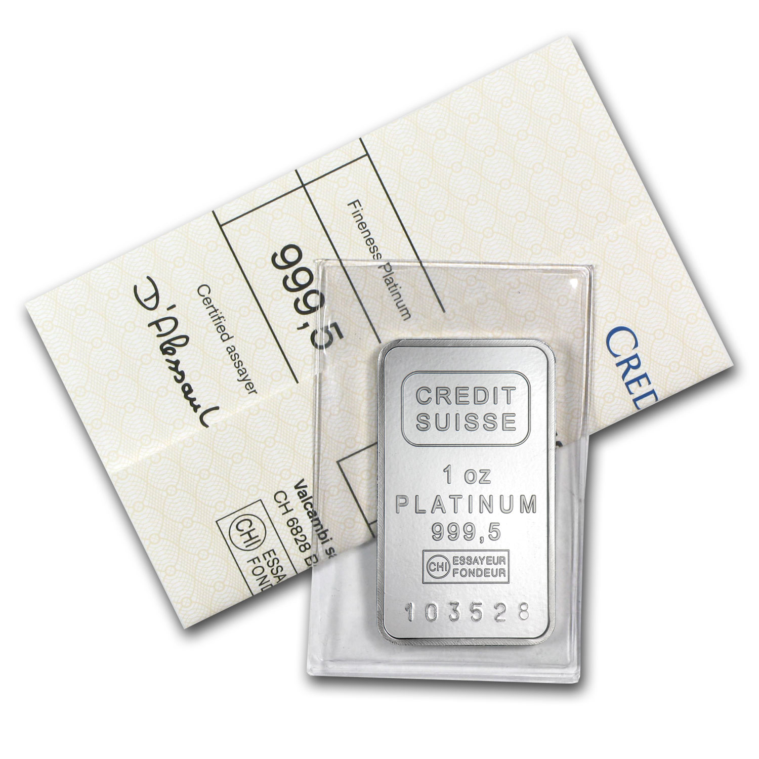 1 oz Credit Suisse Platinum Bar (W/Assay) .999+ Fine
