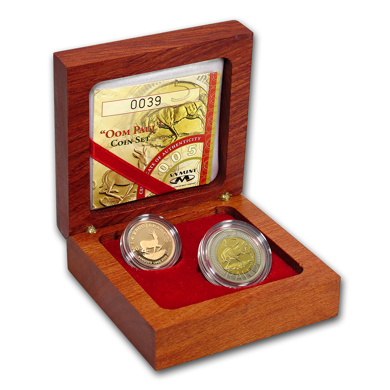 2005 South Africa 2-Coin Gold Oom Paul Proof Set (w/Box & COA)