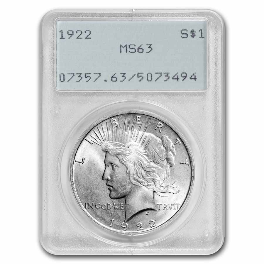 1922-1925 Peace Dollars MS-63 PCGS (Old Rattler Holders)