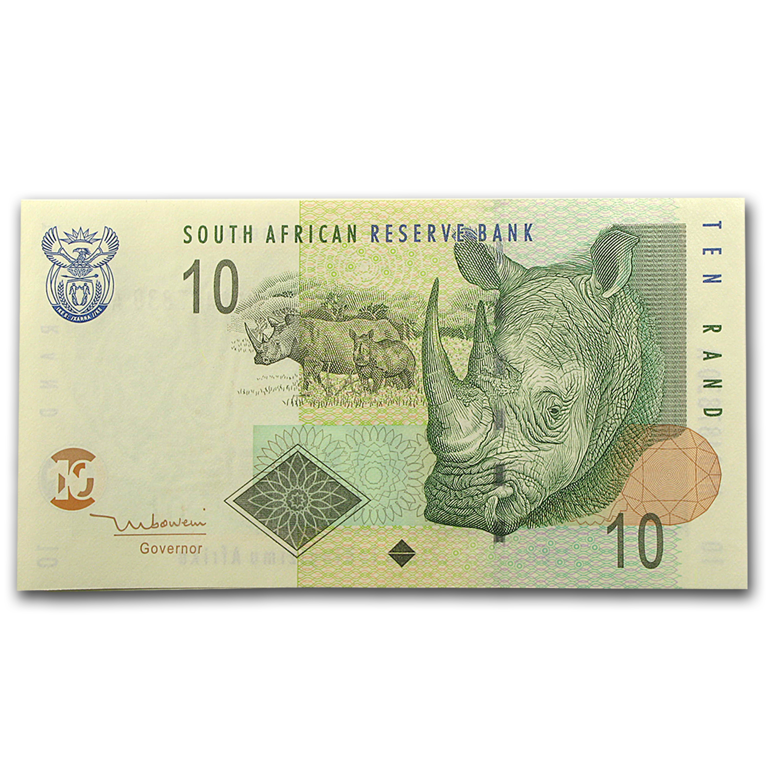 2005 South Africa 10 Rand Unc Rhinoceros P#128