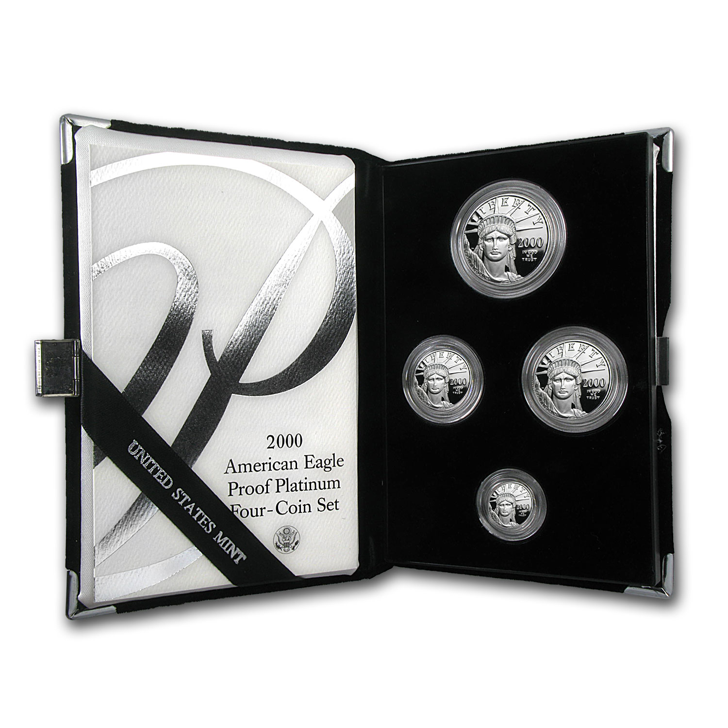 2000-W 4-Coin Proof Platinum American Eagle Set (w/Box & COA)
