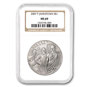 2007-P Jamestown 400th Anniv. $1 Silver Commemorative MS-69 NGC