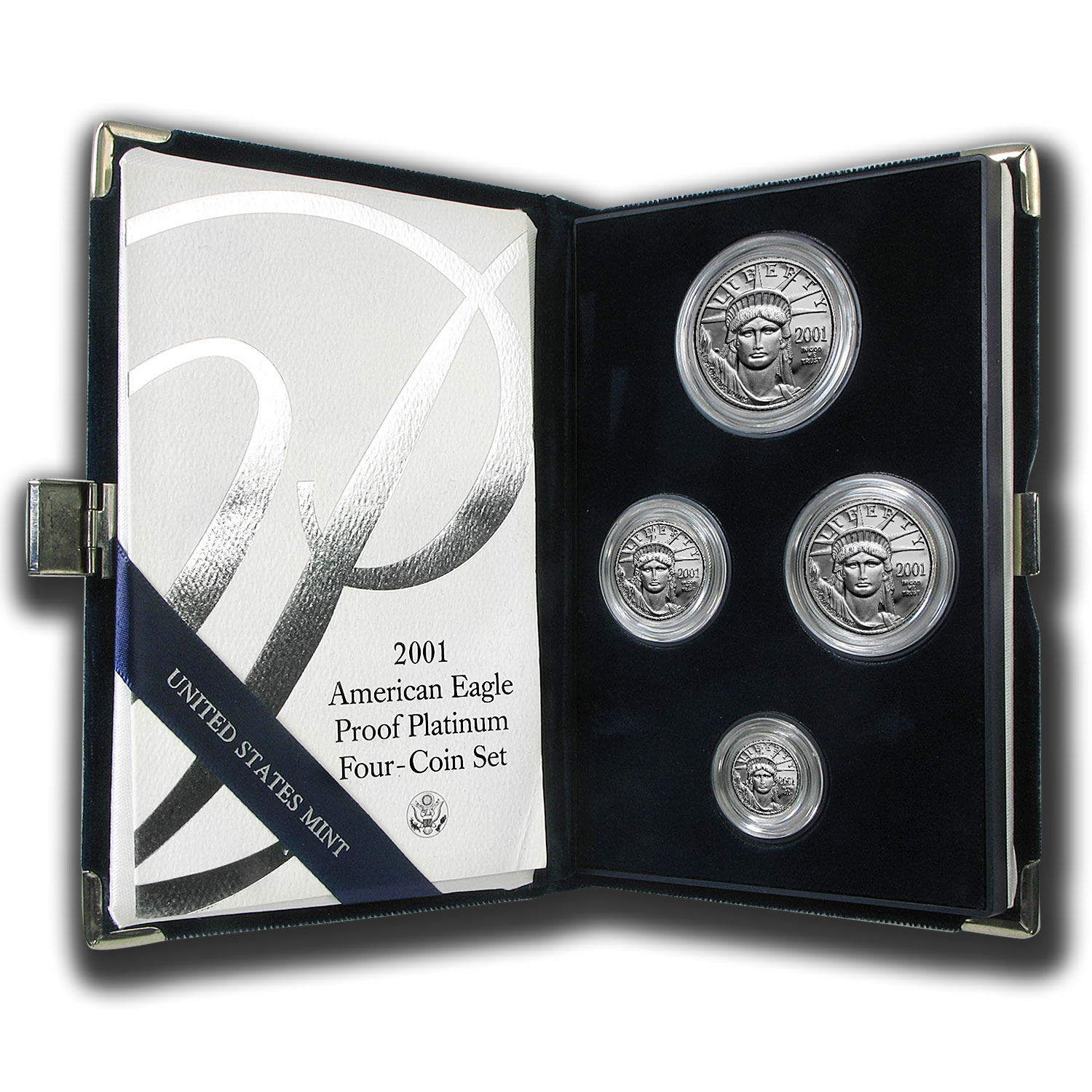2001-W 4-Coin Proof Platinum American Eagle Set (w/Box & COA)