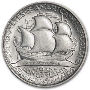 1936 Long Island Tercentenary Half Commem AU