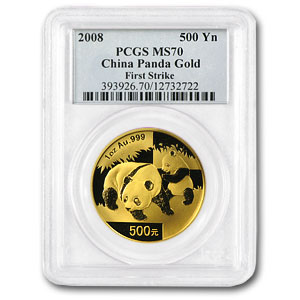 2008 China 1 oz Gold Panda MS-70 PCGS (FS)