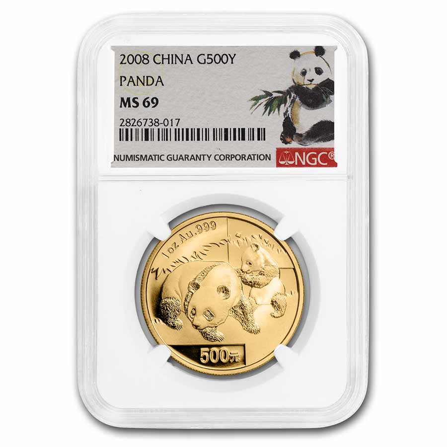 2008 China 1 oz Gold Panda MS-69 NGC
