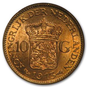 1911-1933 Netherlands Gold 10 Gulden MS-64 NGC (Random)