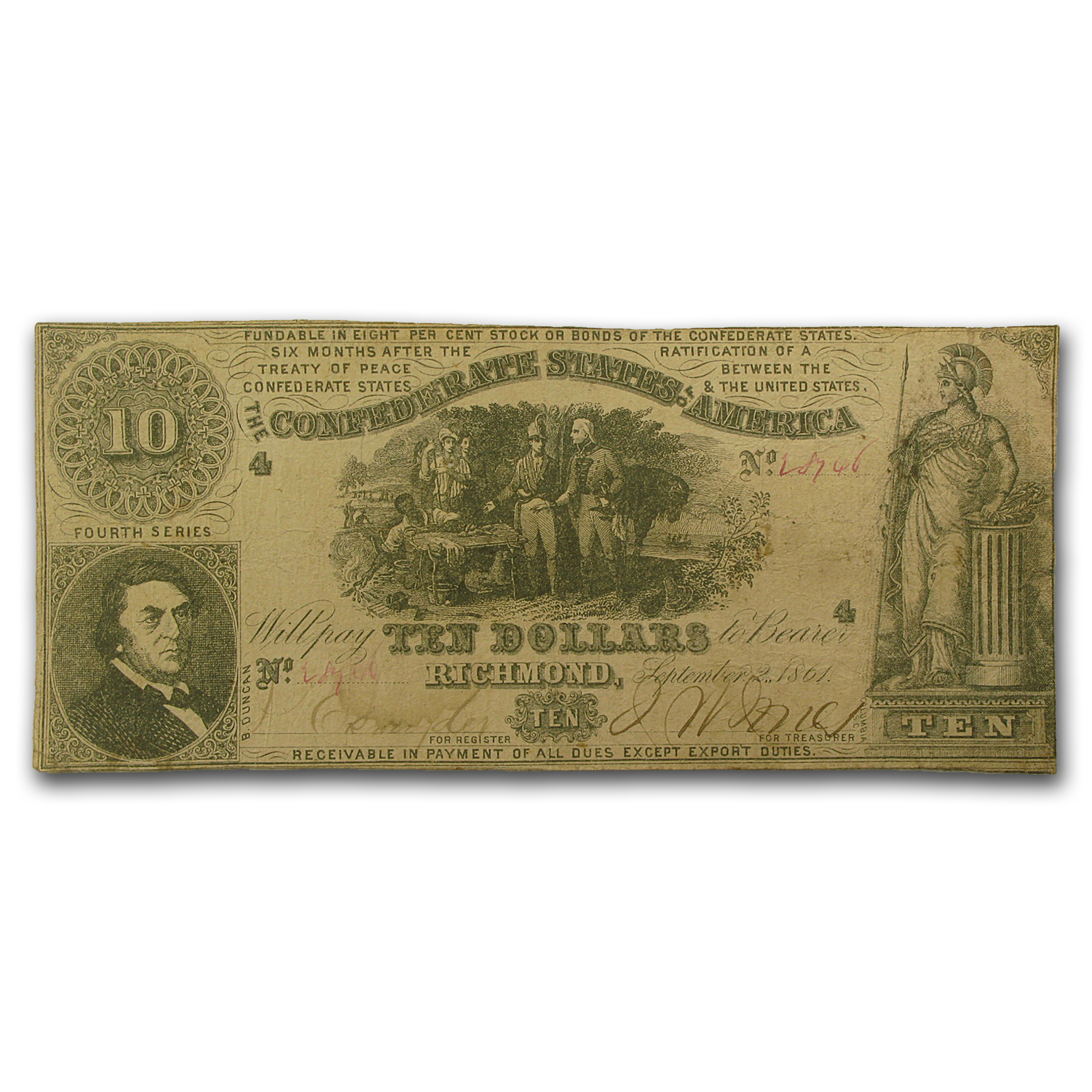 1861 CSA $10 (T-30) Sweet Potato Dinner VF