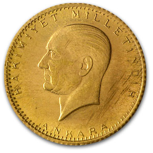 Turkey 25 Kurush Gold Coin (Random Dates) BU