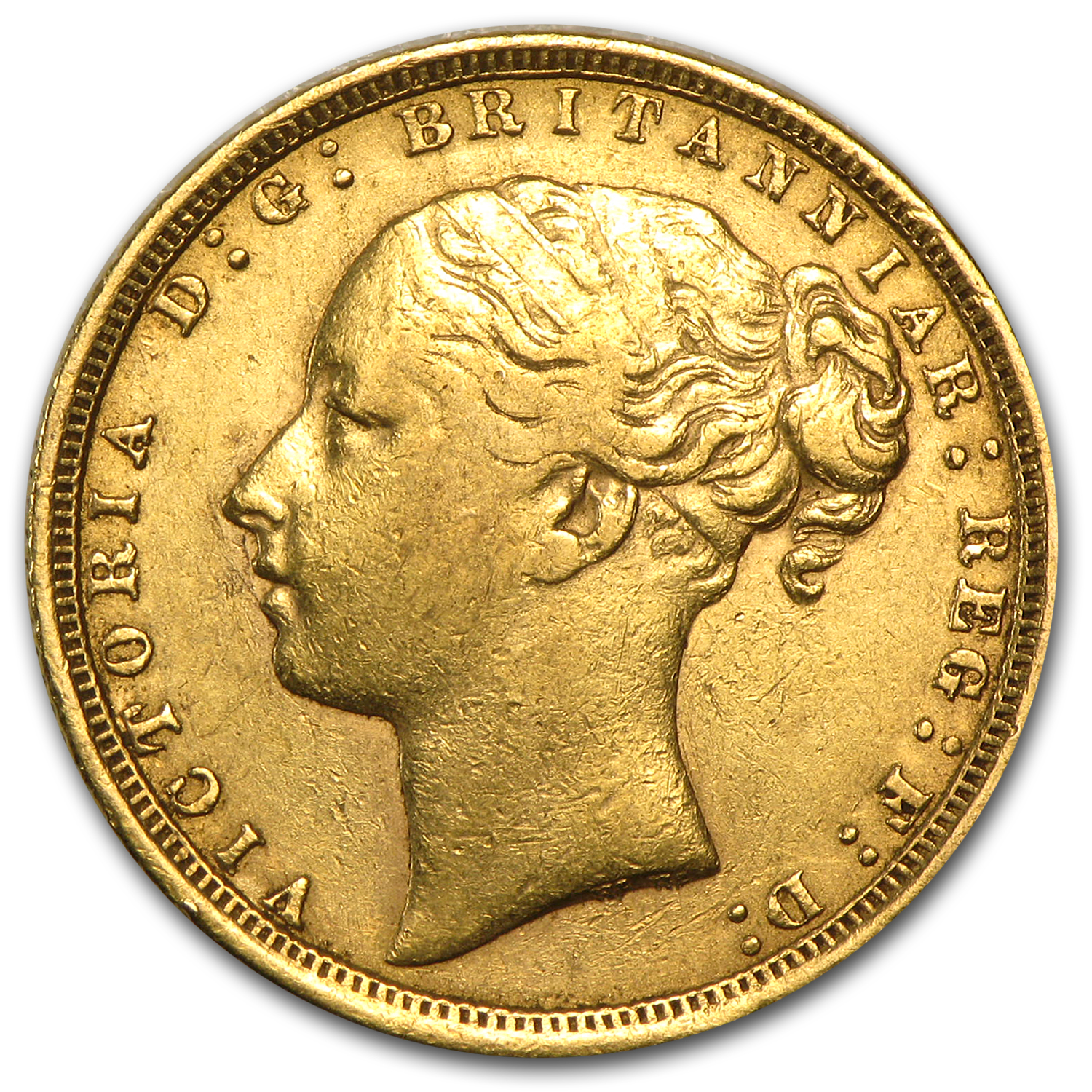 1871-1885 Great Britain Gold Sovereign Young Victoria Avg Circ