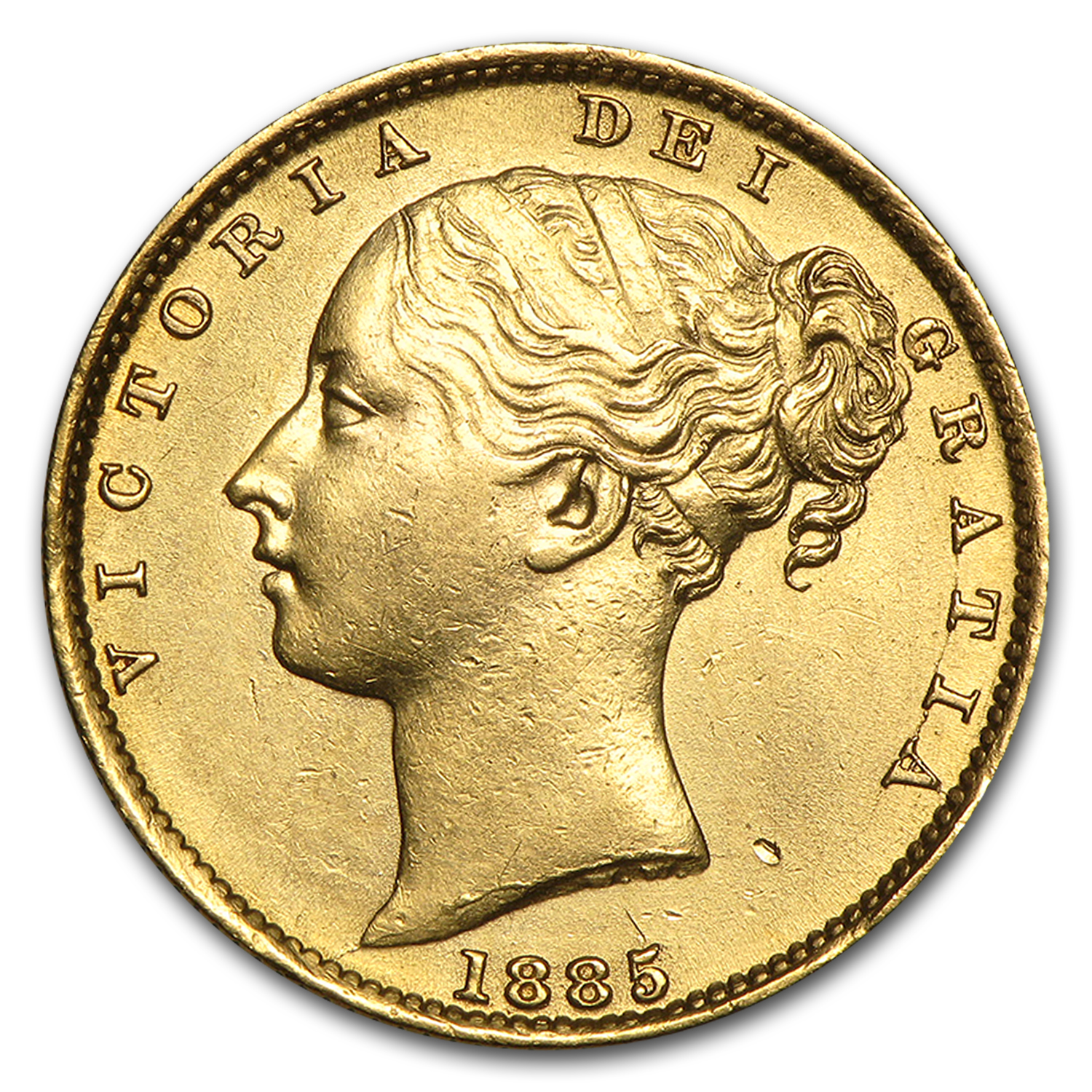1871-1887-S Australia Gold Sovereign Victoria Shield AU