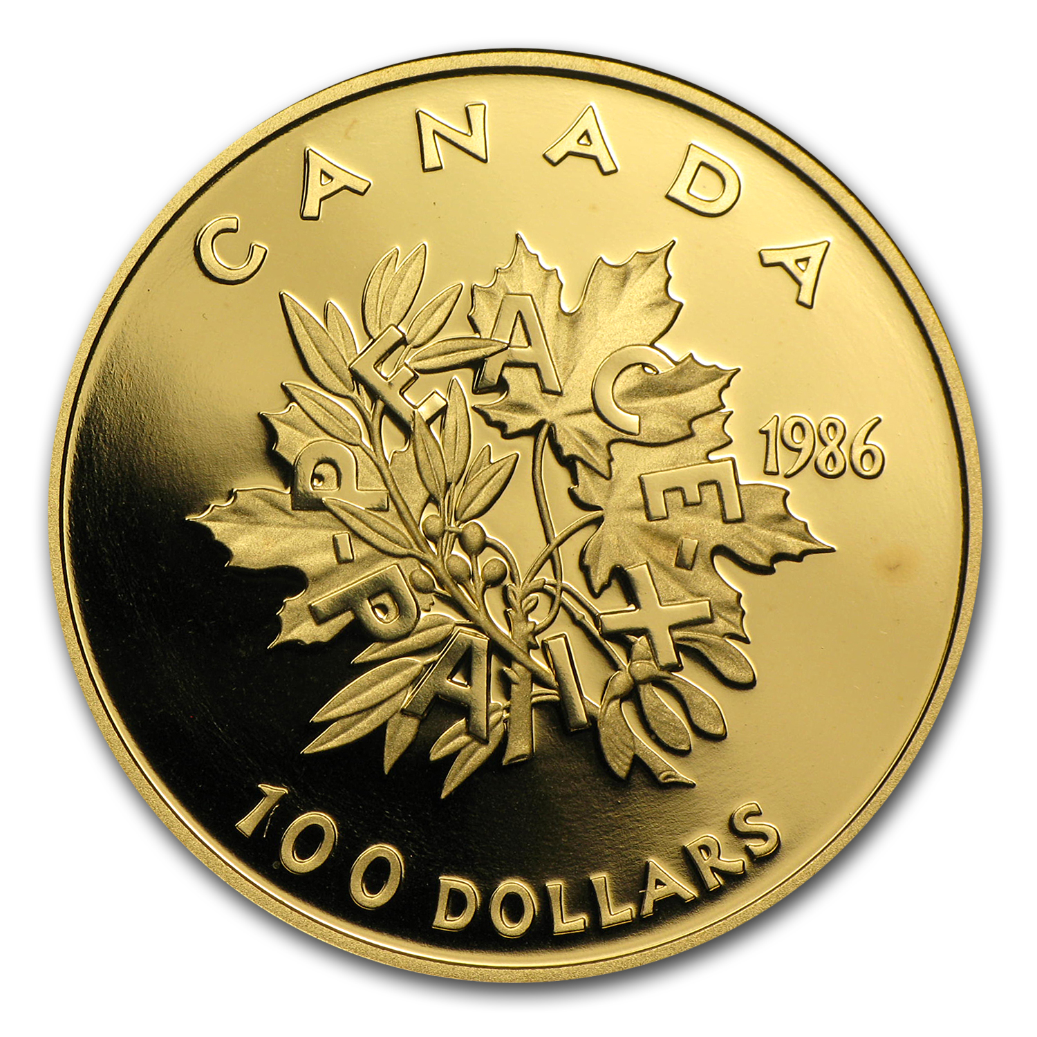 1986 Canada 1/2 oz Proof Gold $100 International Year of Peace
