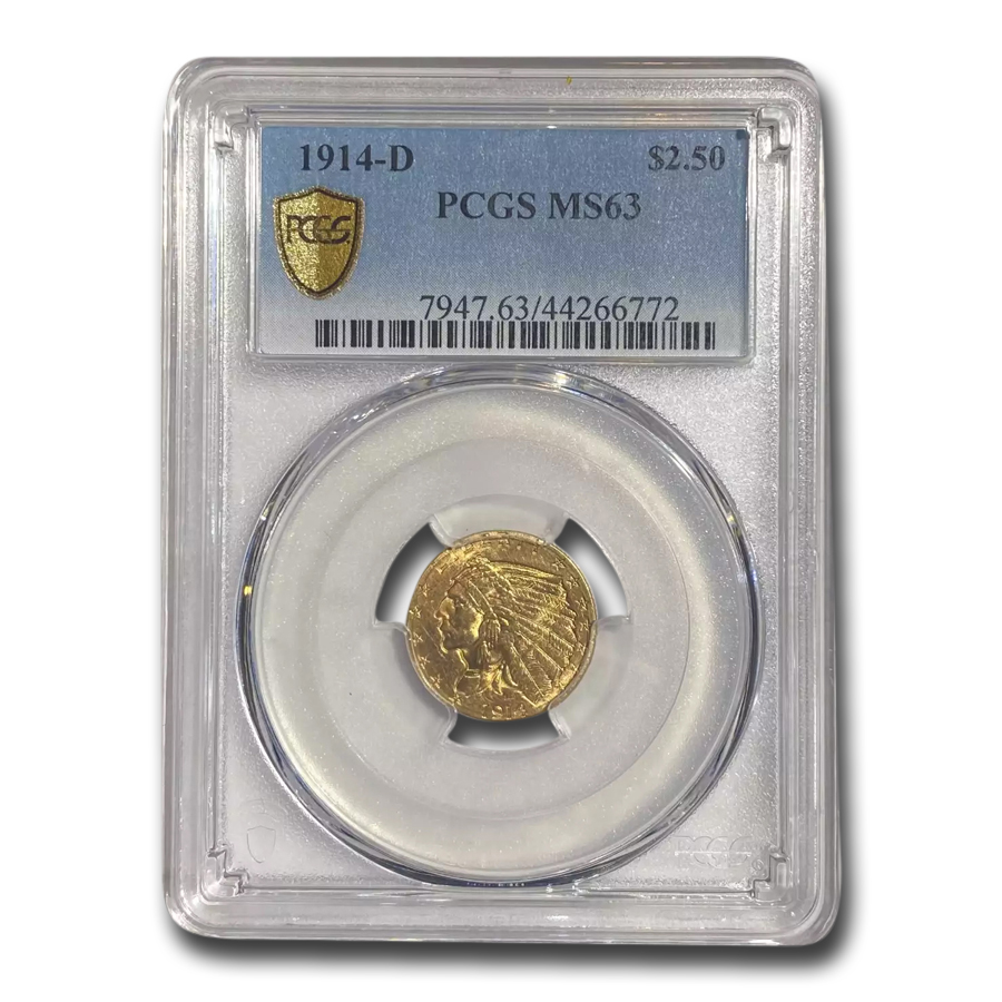 1914-D $2.50 Indian Gold Quarter Eagle MS-63 PCGS