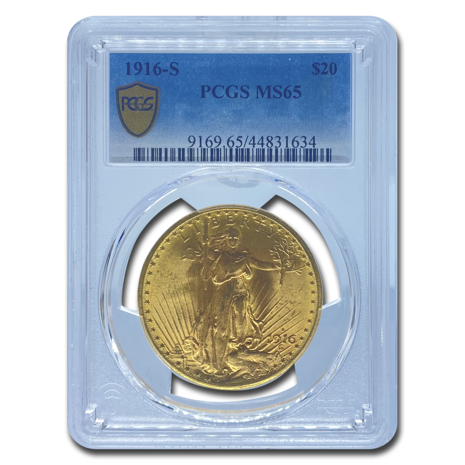 1916-S $20 St. Gaudens Gold Double Eagle - MS-65 PCGS