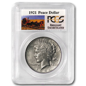 1921 High Relief Peace - Stage Coach Silver Dollars by PCGS