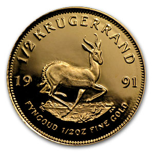 1991 South Africa 1/2 oz Proof Gold Krugerrand