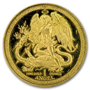 Isle of Man 1 oz Gold Angel BU/Proof Details (Scruffy)