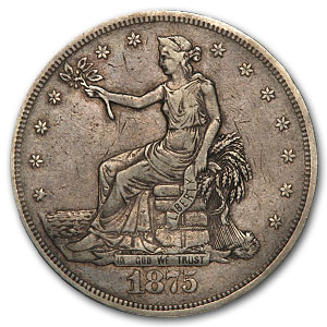 1875-CC Trade Dollar - Extra Fine