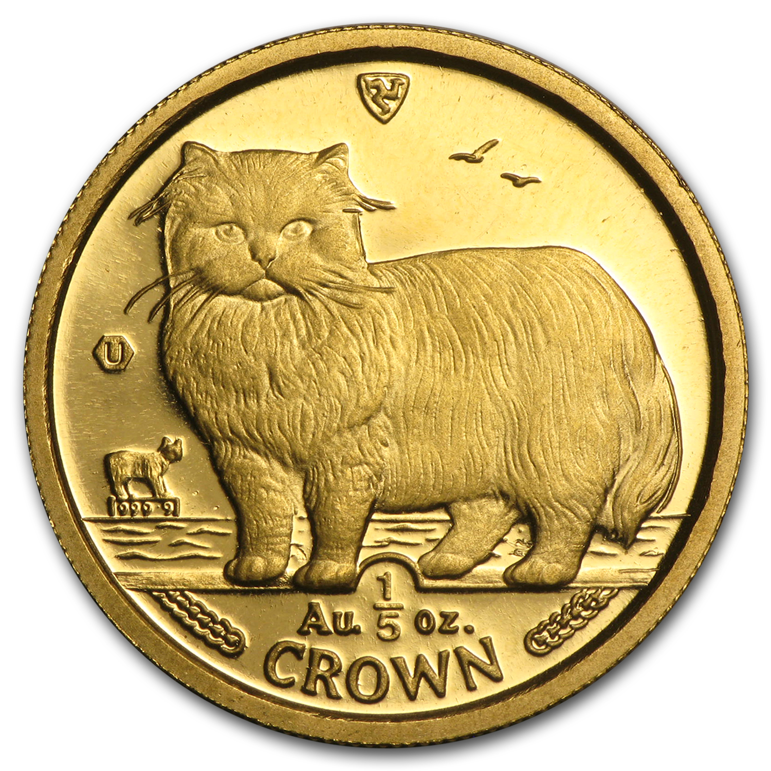 Isle of Man Gold 1/5 Crown Cat BU/Proof