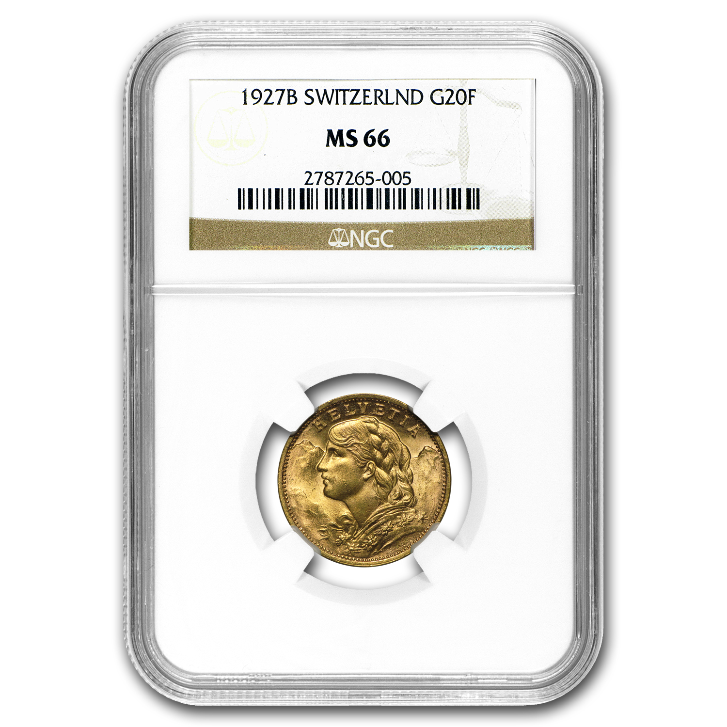 Switzerland 1901 - 1935 20 Francs Gold NGC MS-66