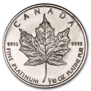 1988 1/10 oz Canadian Platinum Maple Leaf