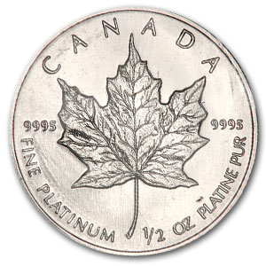 1988 Canada 1/2 oz Platinum Maple Leaf BU