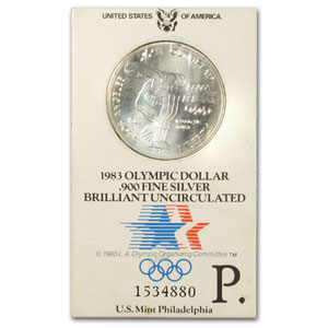 1983-P Olympic $1 Silver Commemorative in ORIGINAL Olympic Holder