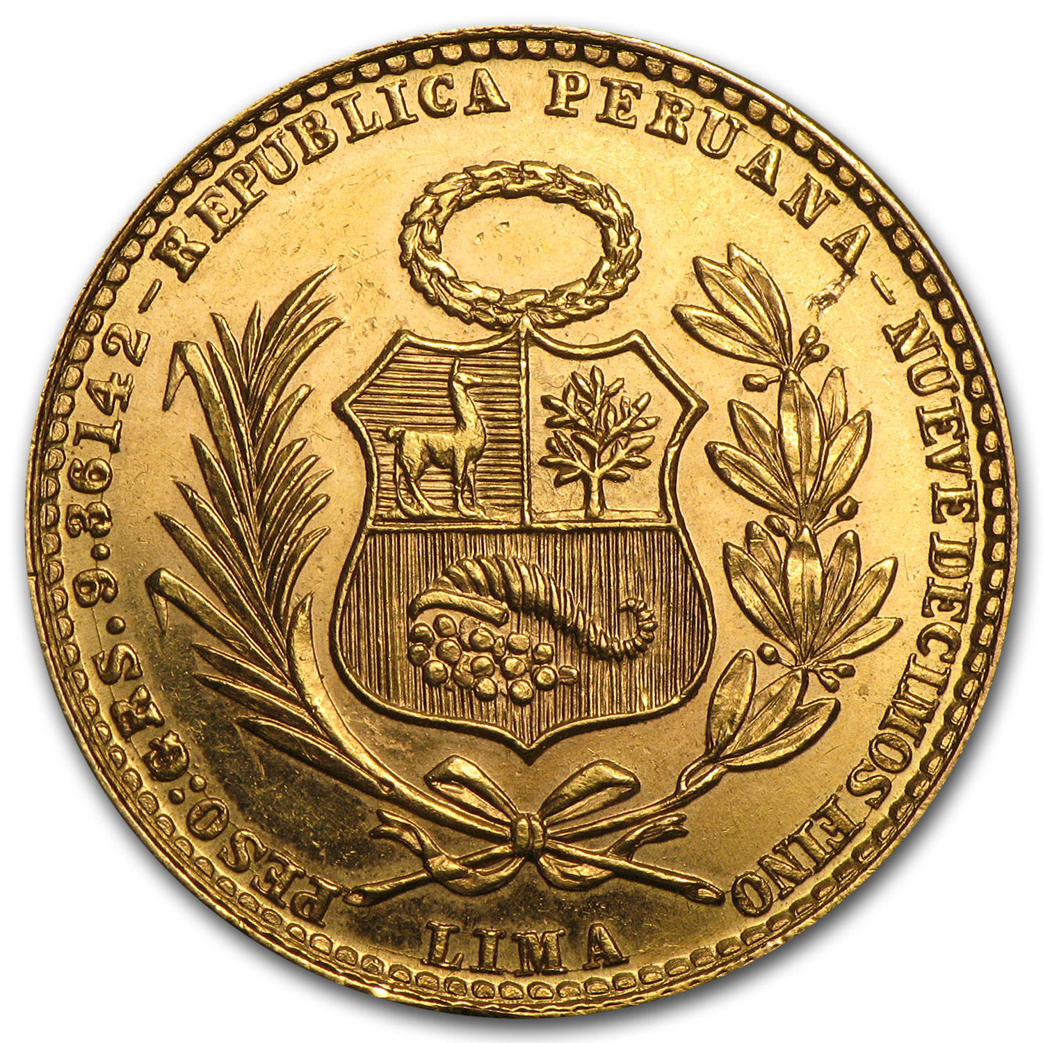 Peru 20 Soles Gold AU or Better Liberty
