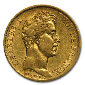 1830-A France Gold 40 Francs of Charles X XF