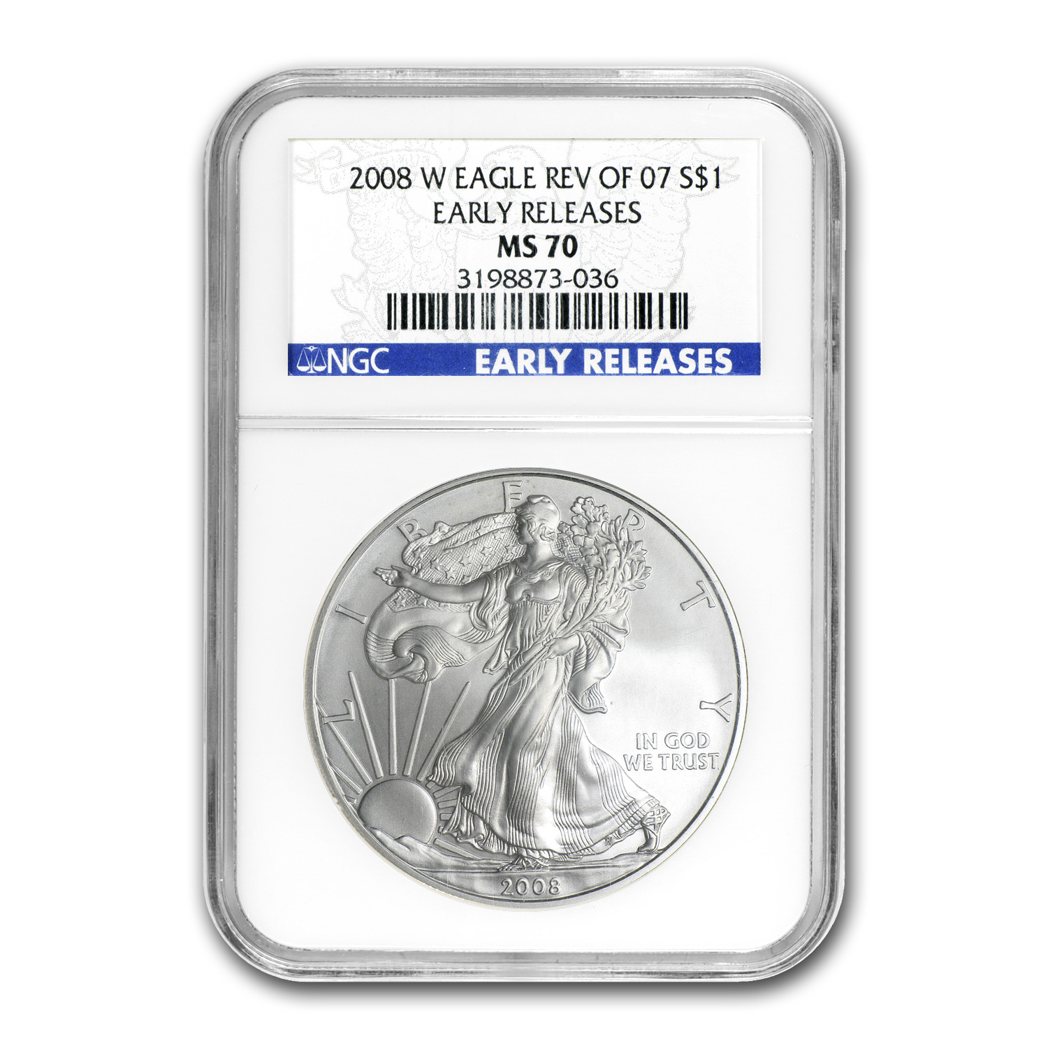 2008-W Burnished Silver American Eagle MS-70 NGC (ER, Rev '07)