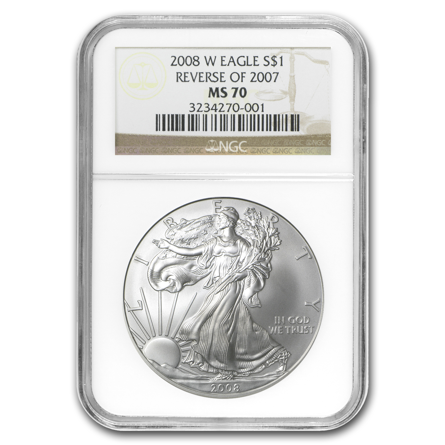 2008-W (Burnished) Silver American Eagle MS-70 NGC (Rev '07)