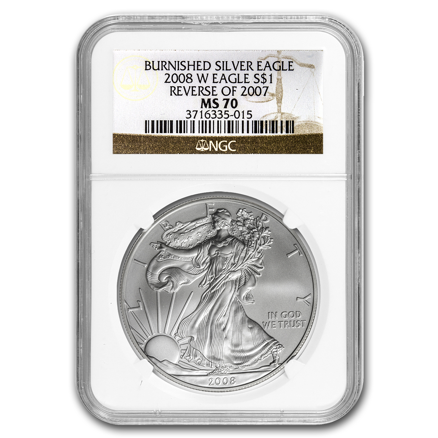2008-W Burnished Silver American Eagle MS-70 NGC (Rev '07)
