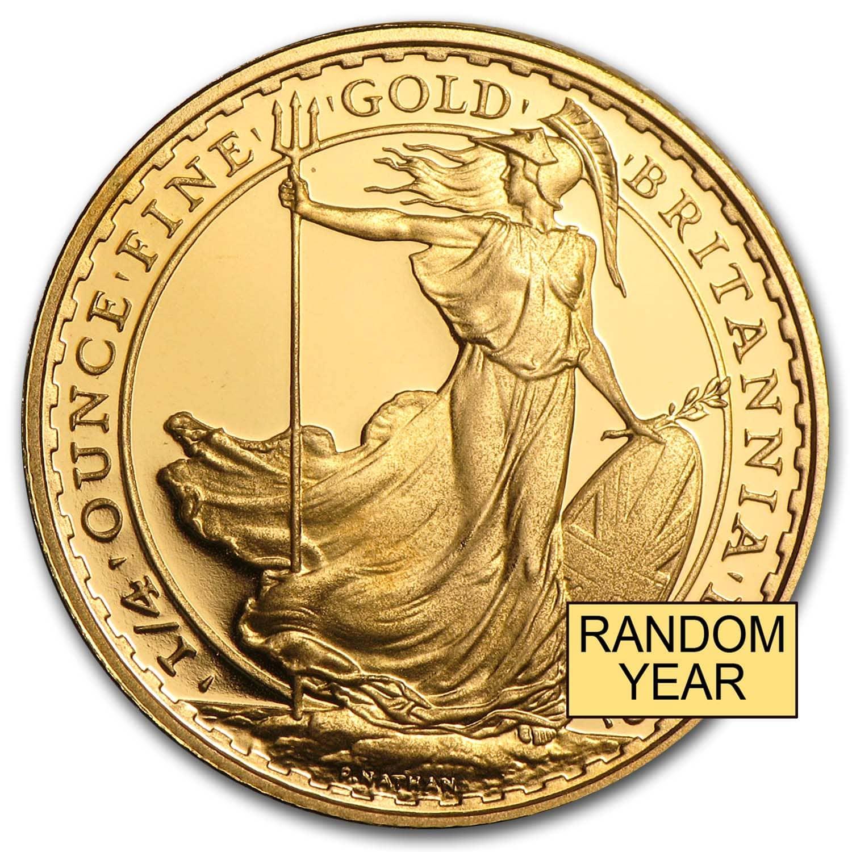 Great Britain 1 4 Oz Gold Britannia Bu Proof Random Year