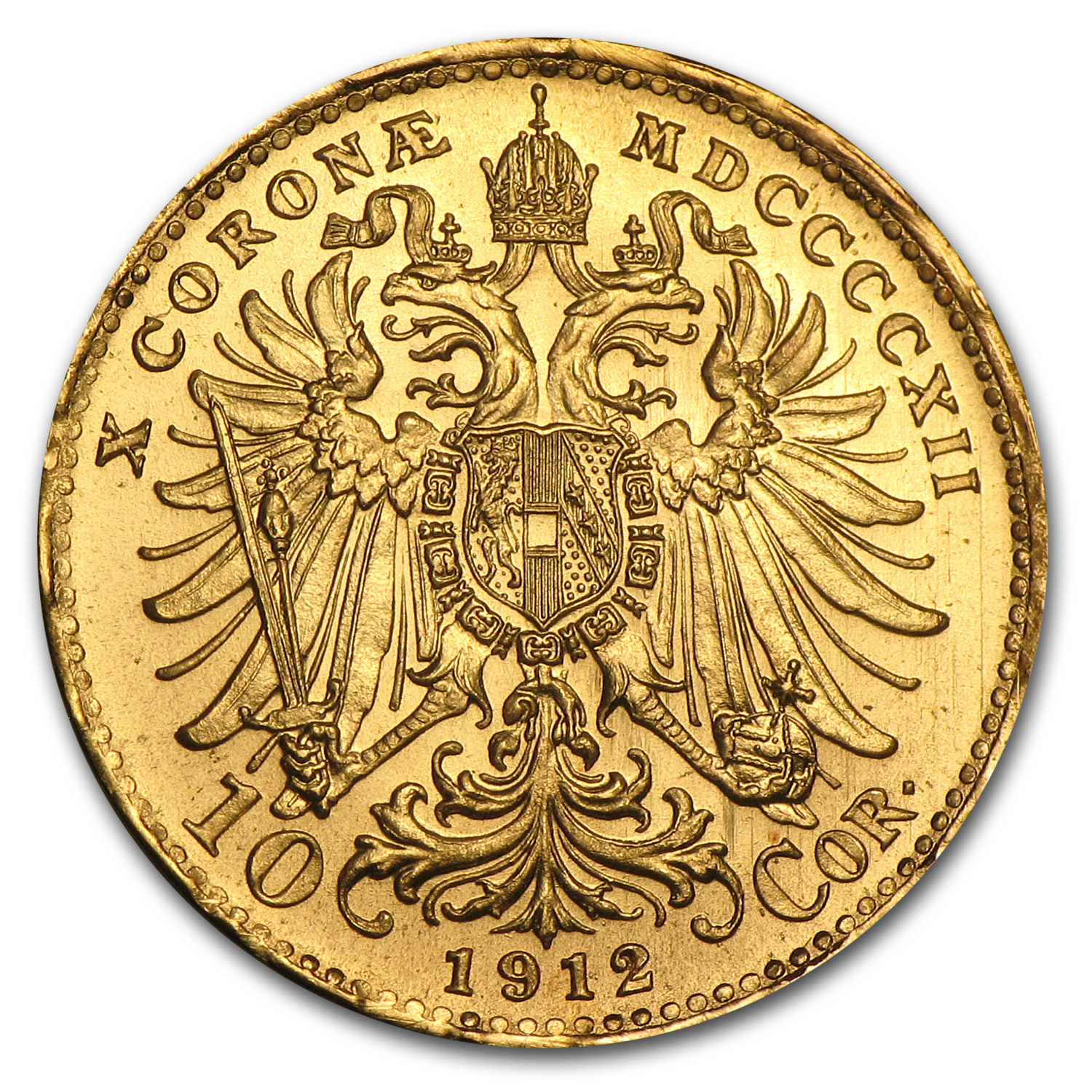Austria 1912 Gold 10 Coronas (Almost Uncirculated)