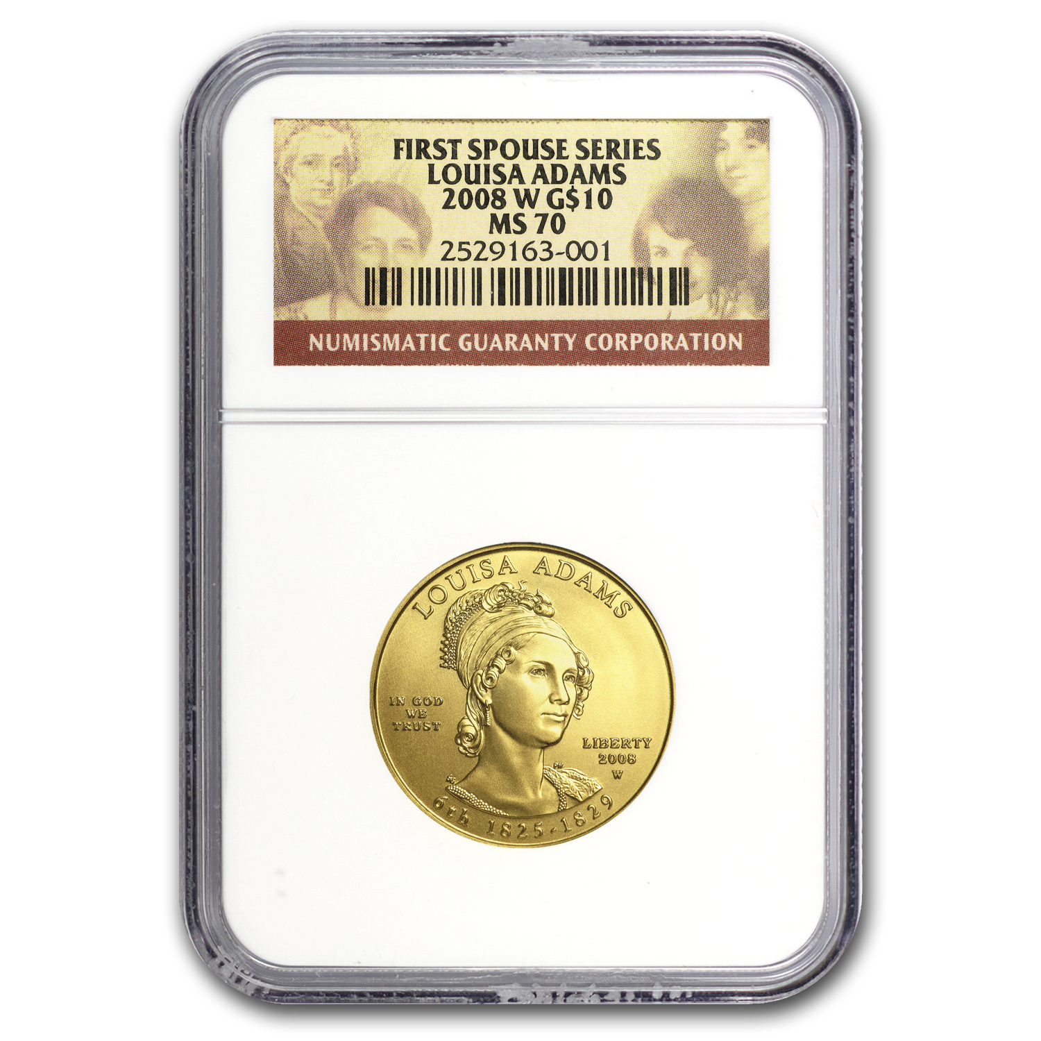 2008-W 1/2 oz Gold Louisa Adams MS-70 NGC