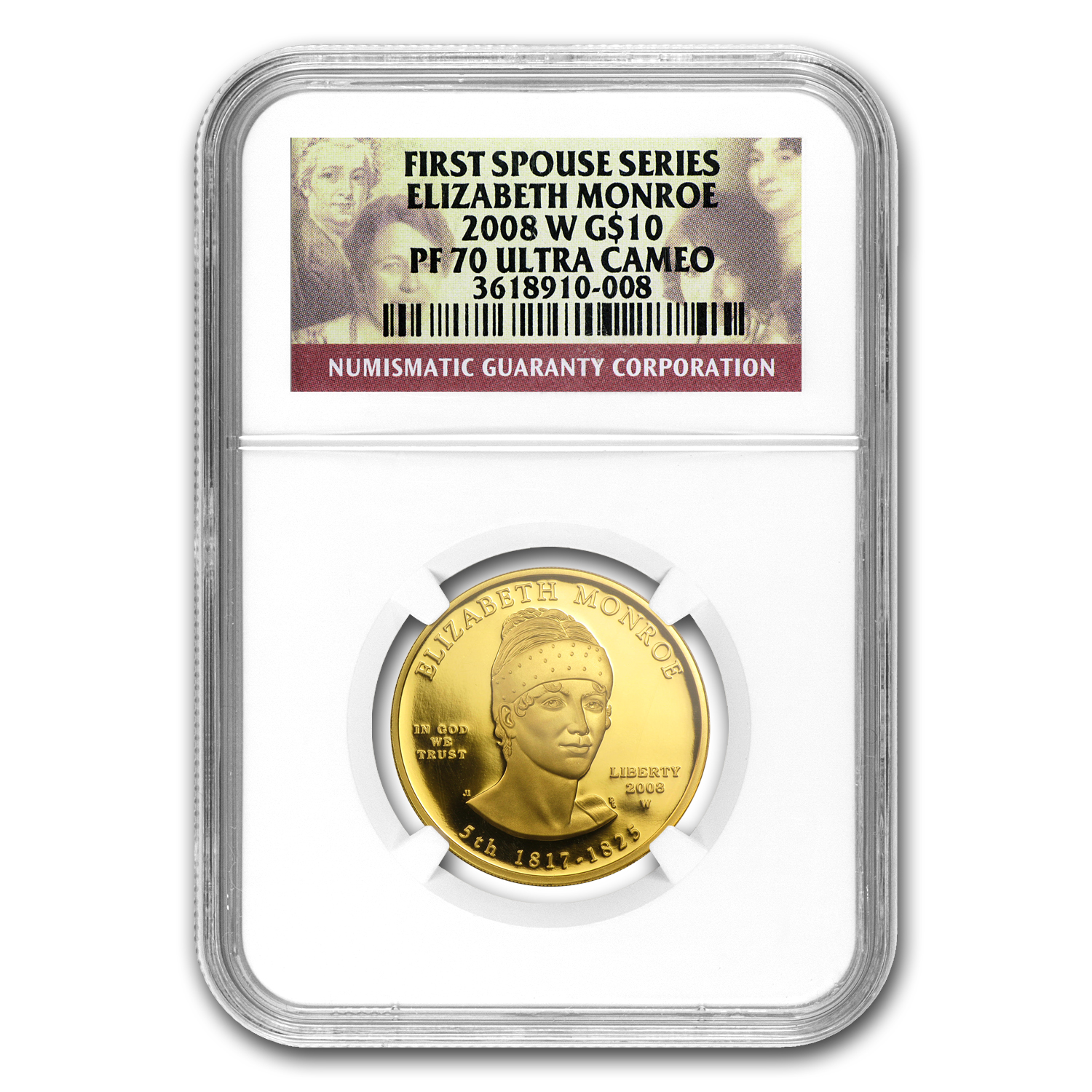 2008-W 1/2 oz Proof Gold Elizabeth Monroe PF-70 NGC