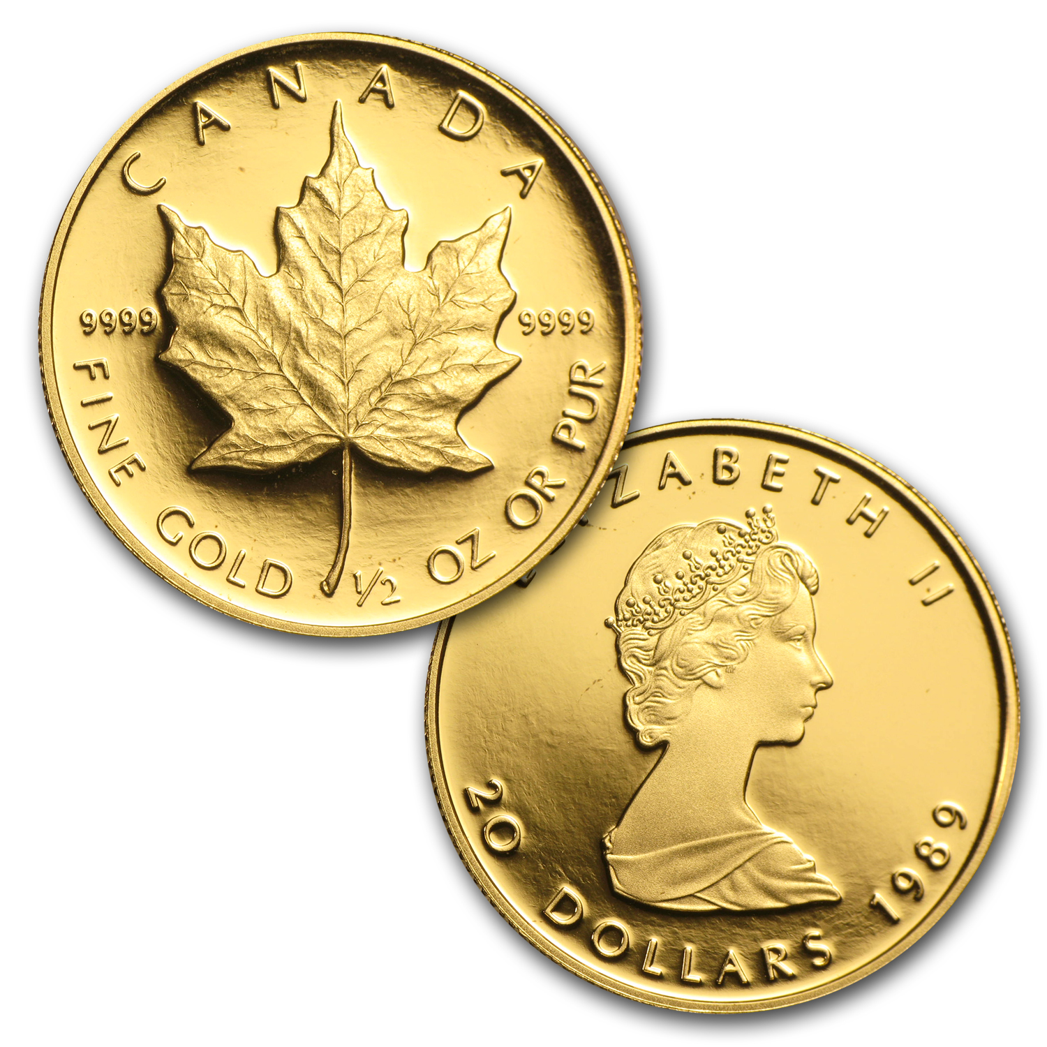 1989 Canada 4-Coin Gold Maple Leaf PF Set (10th Anniv, Box & COA)