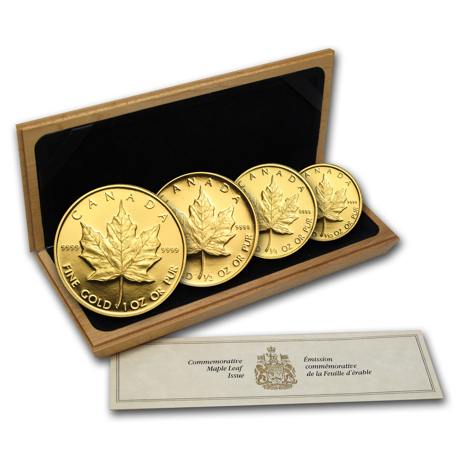 1989 4-Coin Gold Canadian Maple Leaf Set (10th Ann) w/Box & Coa