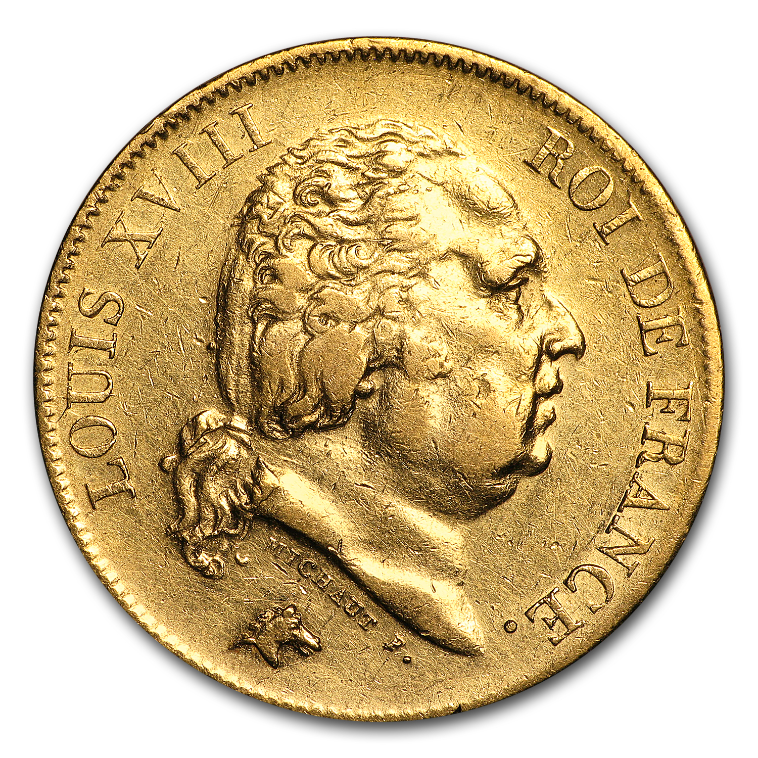 1816-1824 France Gold 40 Francs Louis XVIII Avg Circ